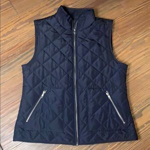 LOFT Navy quilted vest small EUC
